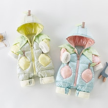 2021 Autumn Winter Overall For Children Infant Down Cotton Thickened Clothes Hooded Cartoon Baby Boy