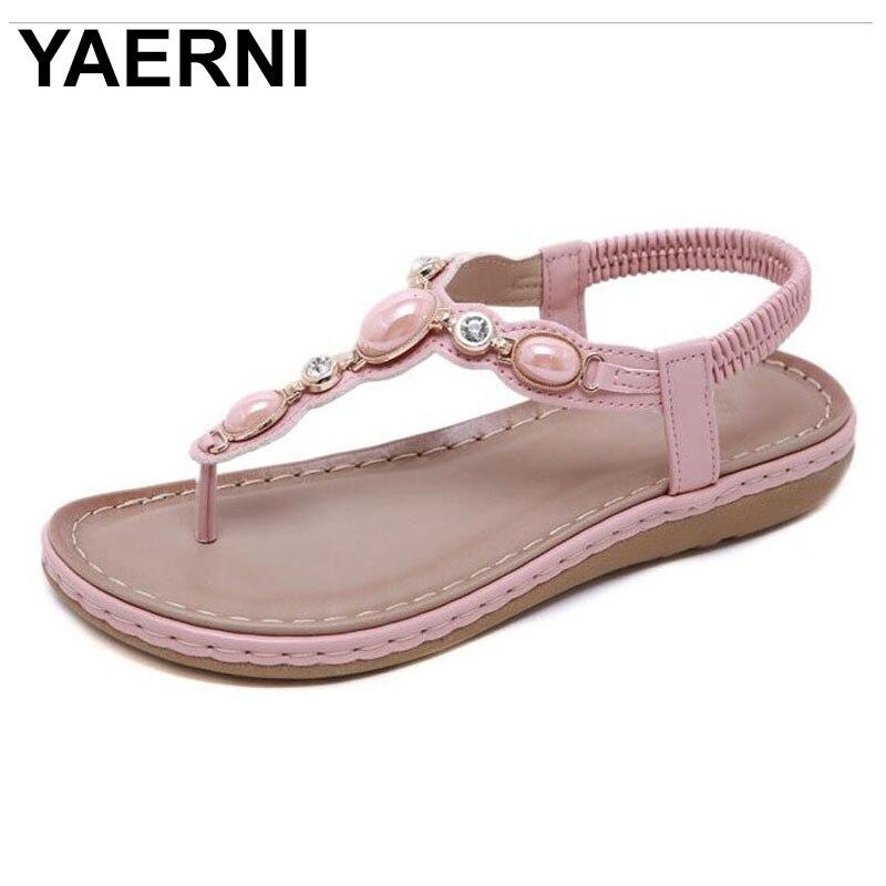 YAERNI SIKETU-Sandalias planas de verano para mujer, zapatos de moda, cuentas de...