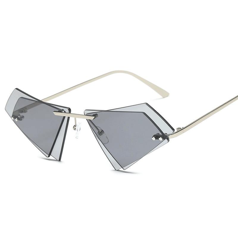 2020 Personality Frameless Triangle Glasses Irregular Double Lens Couple Sunglasses Vintage Eyewear