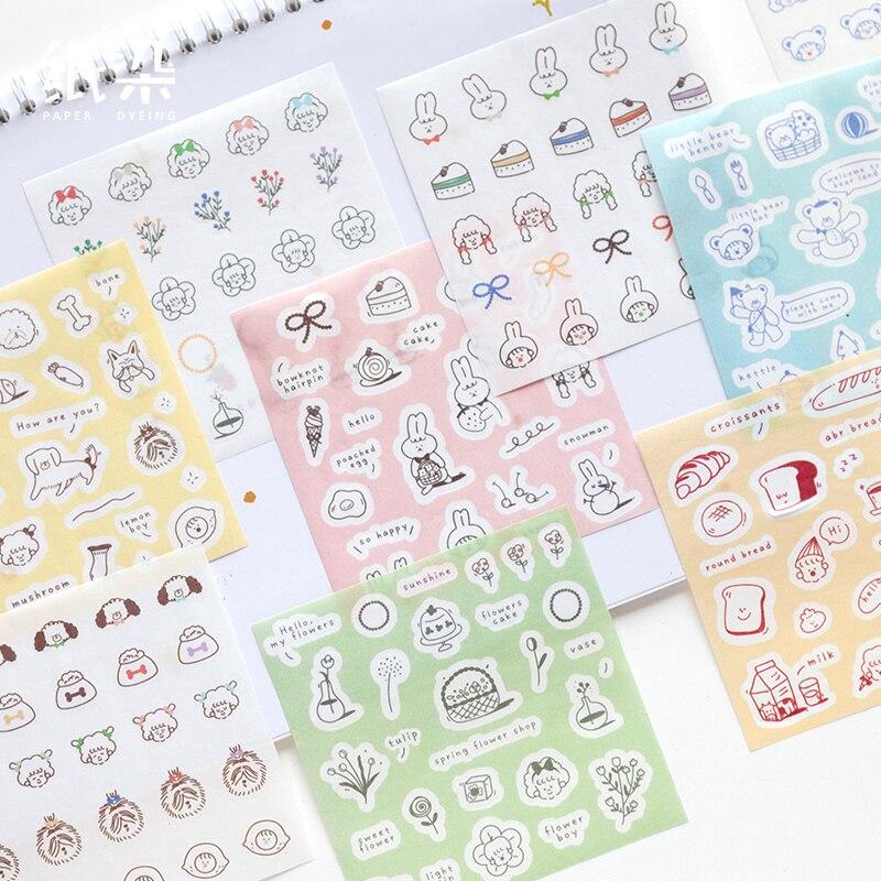 Bloco de notas notas pegajosas kawaii bonito vida quebrar série papel bloco de notas daliy scrapbooking adesivos escritório escola papelaria marcador