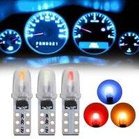 10pcs car dashboard indicator led lights non polarity panel light t5 2 3014smd auto license plate light