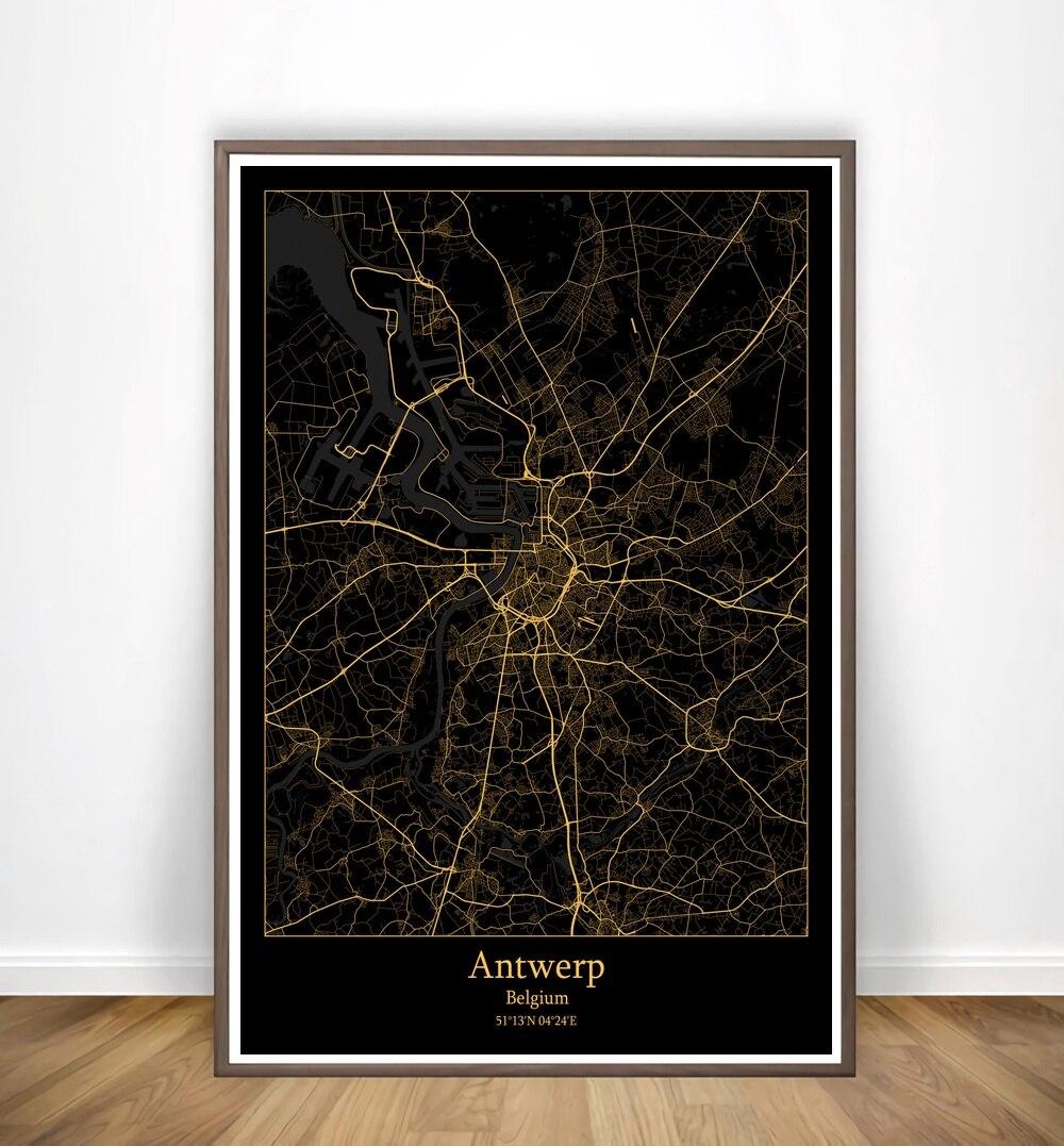 Florence,Amarillo,Amsterdam,Anchorage,Antwerp,Atlanta,Austin,Modern City Gold Map Canvas Art Print Home Room Decor Poster