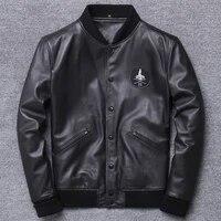 haining genuine clothing mens baseball serve lead layer sheep skin leather jacket self cultivation short thin