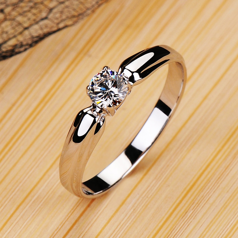 Luxury Female Small Round Stone Ring Real 925 Sterling Silver Engagement Ring Crystal Solitaire Wedding Rings For Women
