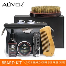 ALIVER 7 pièces/ensemble hommes barbe Kit style outil barbe huile peigne barbe bavoir tabliers baume hydratant cire style ciseaux barbe soin ensemble