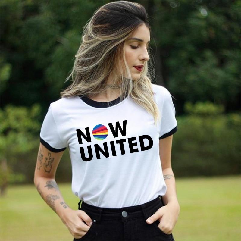 Now United Logo t shirt Women 2020 Summer Female Clothes Fashion Aesthetic Graphic Tee Shirt Femme White Short Sleeve T-shirts