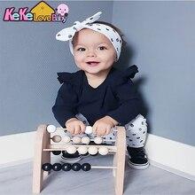 Conjunto de ropa para recién nacidos y niñas de moda de manga larga con volantes, mono, Tops, pantalones, diadema, ropa infantil para niñas, traje Casual de algodón
