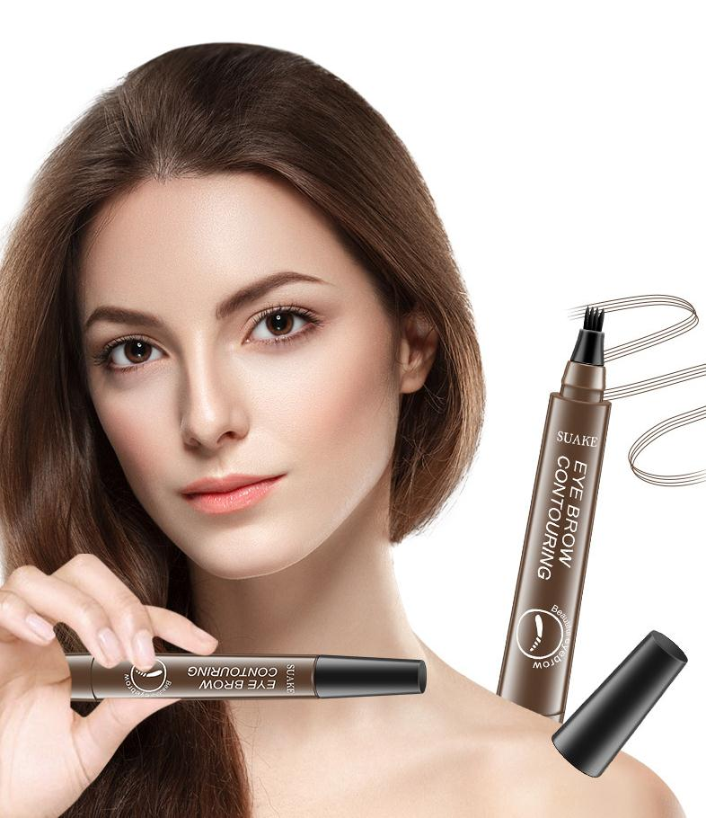 New Brand Makeup 4 Point Eyebrow Pen Make-up For Women 6 Colors Liquid Brow Pencil Dark Brown Waterp