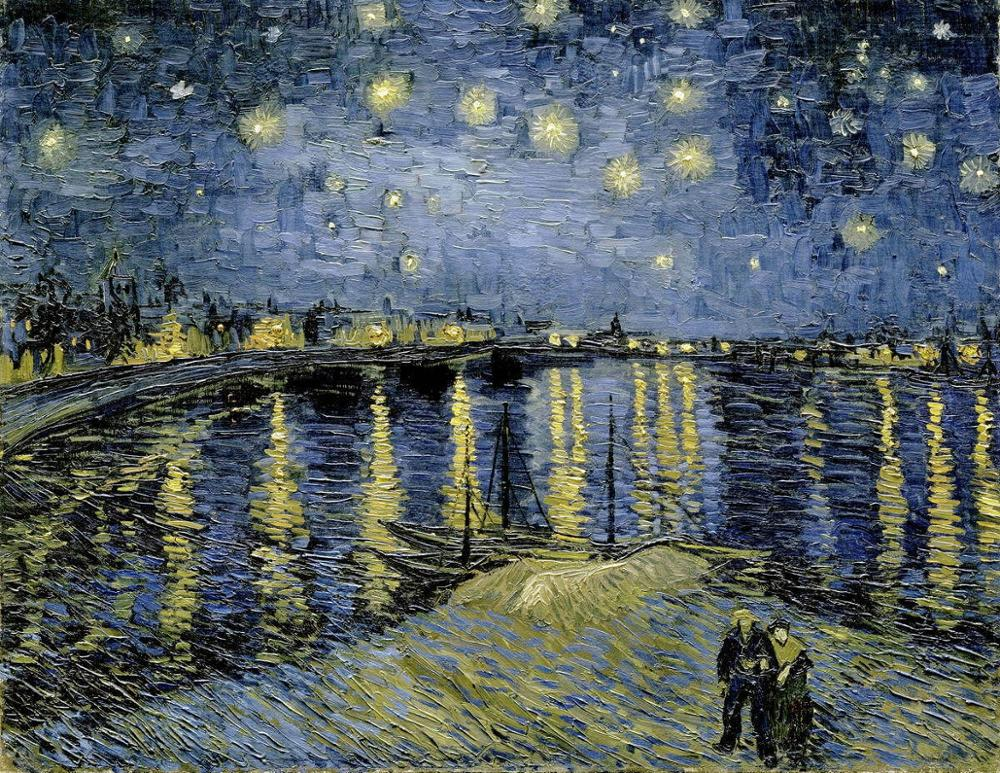 Vincent Van Gogh-Póster Artístico impreso de noche estrellada, lienzo al óleo para...