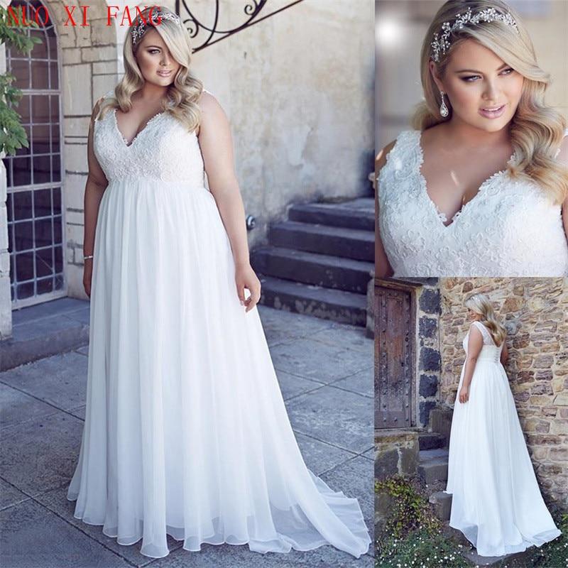 White Plus Size Chiffon Applique Lace Beach Wedding Dresses Pregnant Women Corset Back Empire Bridal Gown Long Robe De Soiree