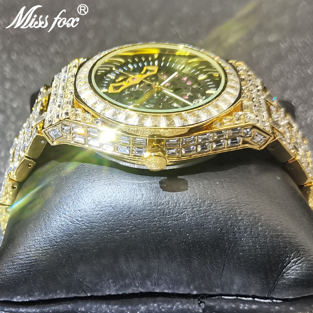 Top Hip Hop MISSFOX Hollow Mens Watches Automatic Mechanical Watch Iced Out Fashion Square Gold Diamond Male Luxury Dive Clocks enlarge