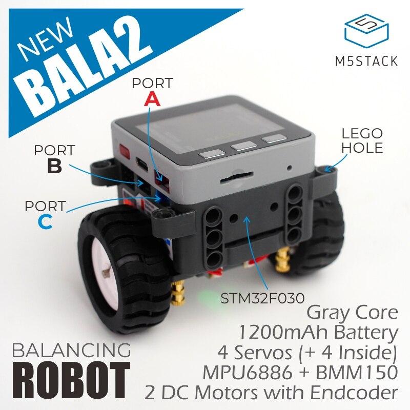 M5Satck officiel nouveau BALA2! ESP32 développement Mini voiture auto-équilibrante électrique 2DC moteur avec MPU6886 BLE PID Balance de contrôle