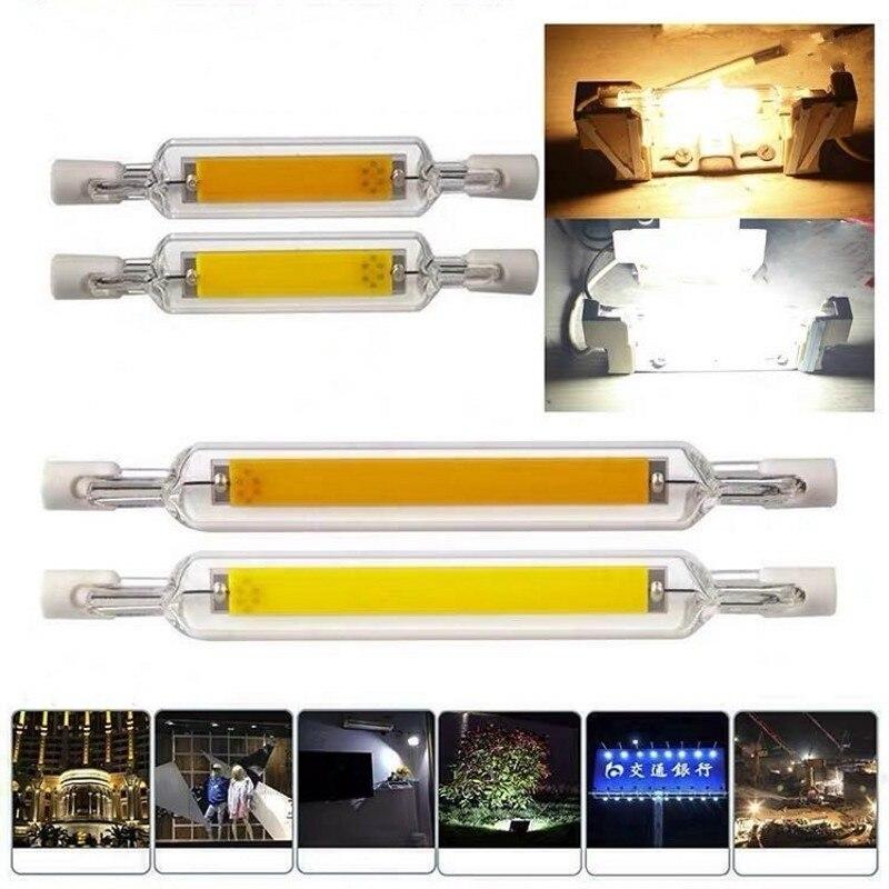 Bombilla LED de alta potencia R7S, 78mm, 15W, 20W,  118mm, 30W, 40W, 50W,  220V, COB, tubo de vidrio, lámpara halógena de re