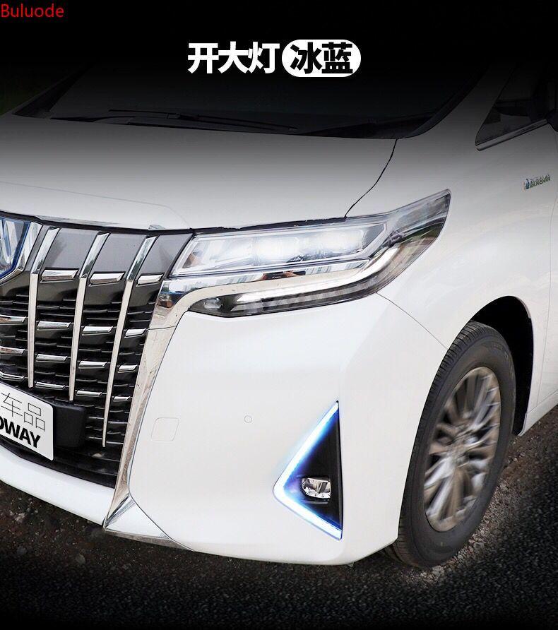 Car 1Pair LED Daytime Running Light For Toyota Alphard 2018 2019 Yellow Turn Signal Relay Waterproof 12V DRL Fog Lamp