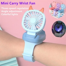 Mini Carry Wrist Fan Watch Portable Rotatable USB Charging Air Cooling Fan Detachable Students Toy W