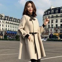 long section woolen coat female 2021 autumn new popular a shaped high quality seven point sleeve plaid ladies coat jacket