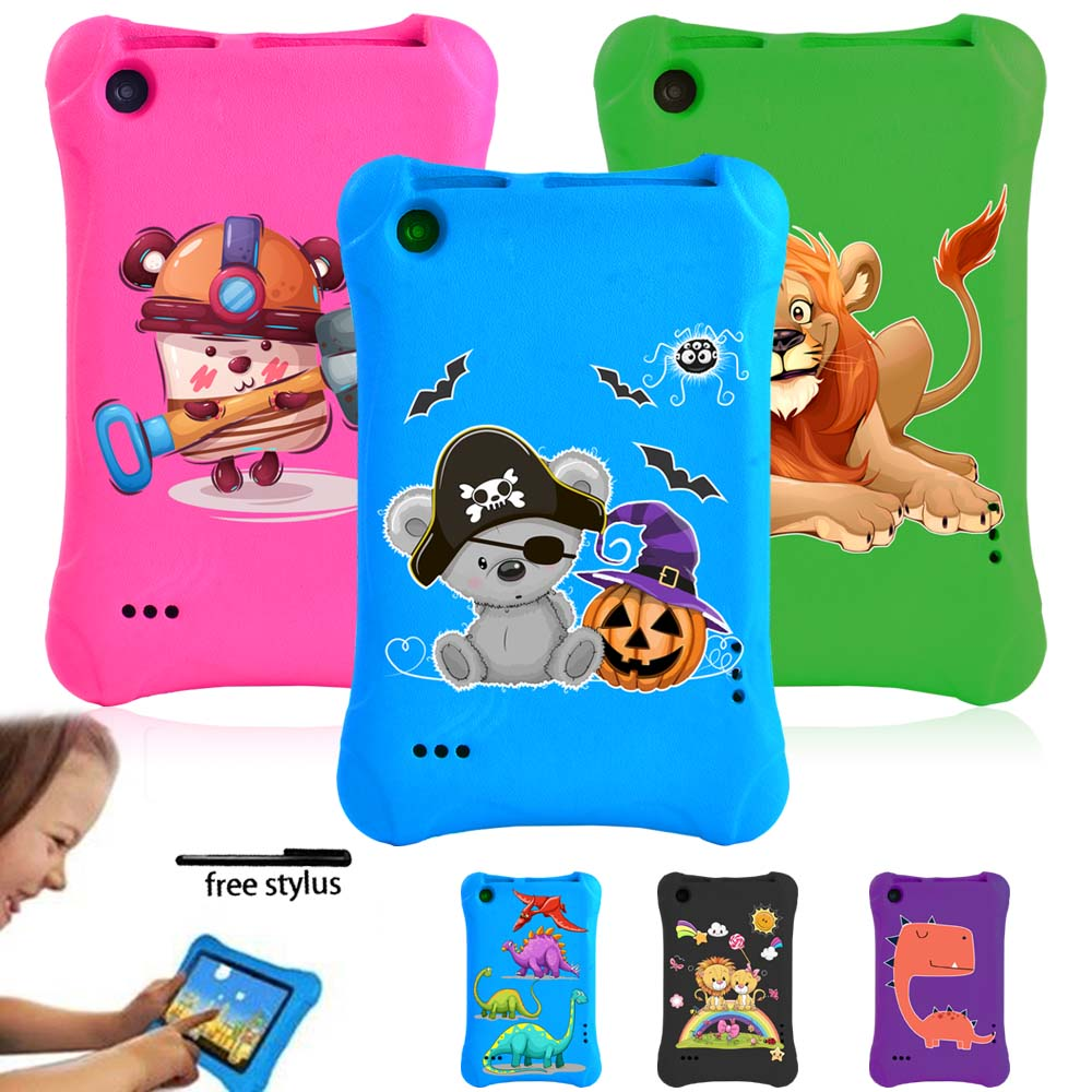For Amazon Fire 7(5th/7th/9th Gen)Tablet Case -Kids Safe Anti-fall Case Foam EVA Foam Multicolor Cartoon Pattern Series + Pen