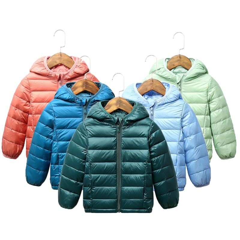 2020 Children winter jacket Ultra light down Baby Girls Jackets Kids Hooded Outerwear Coat boys snowsuit Children Clothing 2-8 y