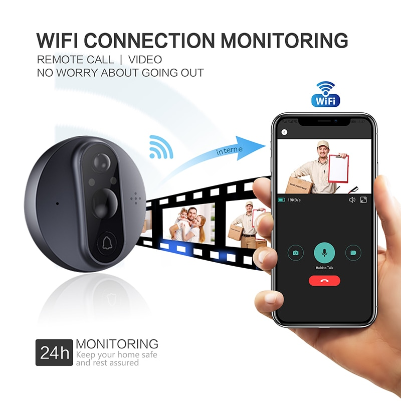 4.3 Inch HD Smart WiFi Video Doorbell PIR Motion Detection 160 Wide Angle Viewer Camera IR Night Vision Doorbell Home Security enlarge