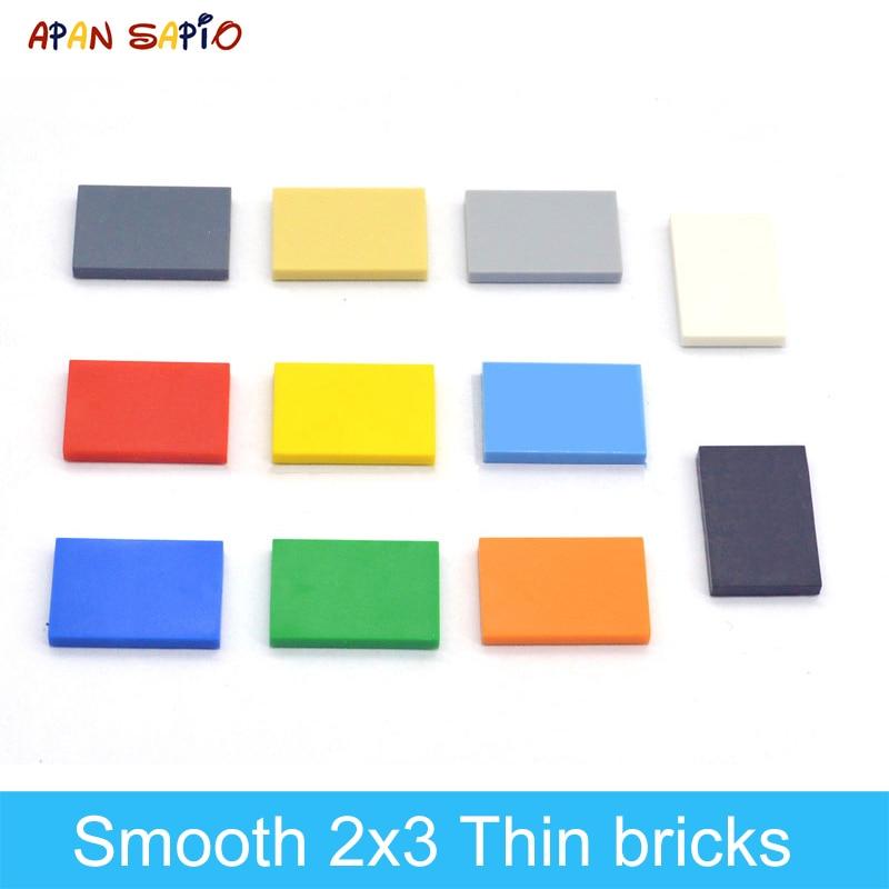 100 шт. DIY строительные блоки тонкие фигурные кирпичи гладкие 2x3Dots развивающие творческие размеры совместимы с lego игрушки для детей