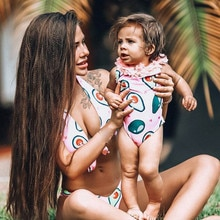 2020 Baby Girl Summer Beach Bikinis Swimsuit Bathing Suit Kawaii Lace Beachwear Sports One-Piece Cartoon Avocado Print Biquinis