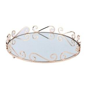 Oval Mirror Tray Perfume Jewelry Display Dresser Fruit Plate Serving Tray Makeup Storage Organizer Bathroom Decor wholesales