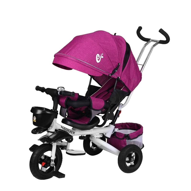 Складной детский трехколесный велосипед 3 в 1, детская коляска, трехколесный велосипед для детей, Детский велосипед, можно сидеть, детская те...