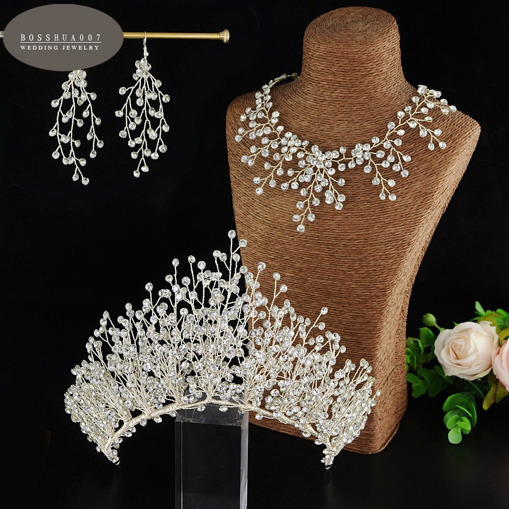 زفاف مجوهرات يدوية كريستال عقال و طقم من الحلقان