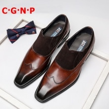 C·G·N·P Italian Genuine Leather Loafers Men Patchwork Square Toe Slip On Dress Shoes Imported Cow