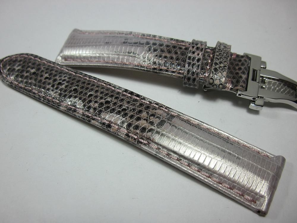 Relógio de Luxo Alta Qualidade Cinto Genuíno Lagarto Pele Relógio Banda Borboleta Fivela Pulseira Artesanal Cinta 18mm20mm