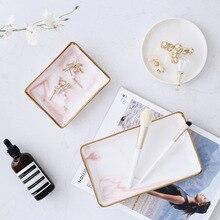 Style nordique marbre or plateau de rangement en céramique bijoux plateau bureau inclus photographie accessoires salle de bain commode plaque débris plateau