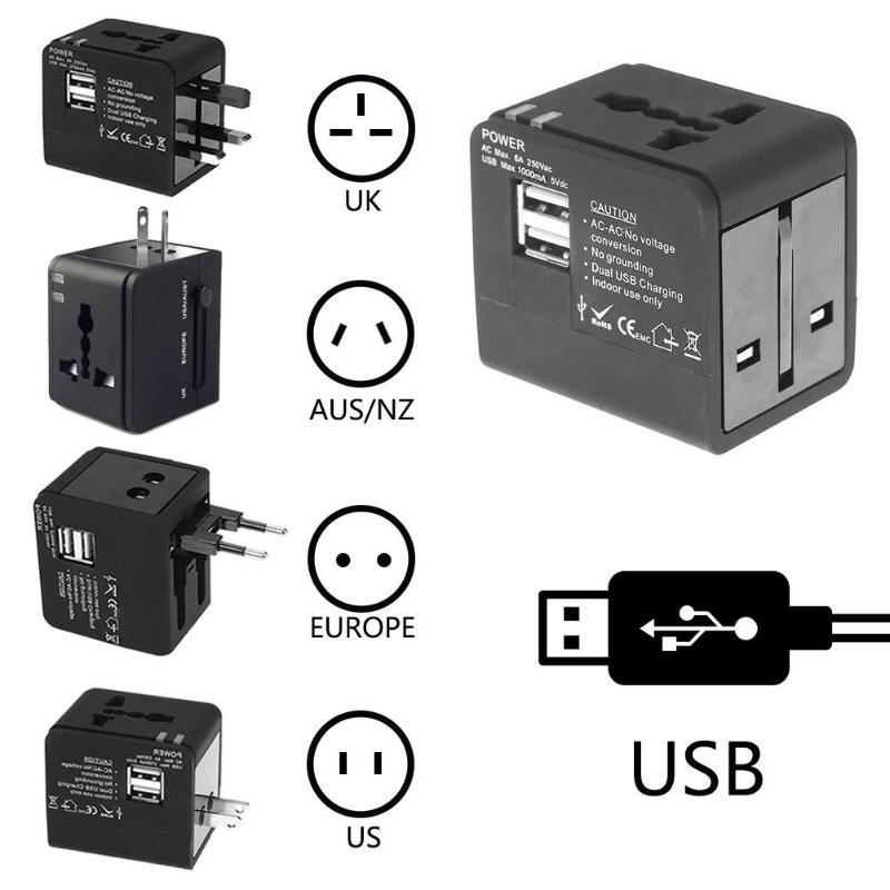 Универсальное зарядное устройство Великобритании, США, Австралии, ЕС, AC, розетка, зарядное устройство для путешествий, глобальный многофункциональный адаптер, штепсельная вилка с двумя usb-разъемами для путешествий, зарядное устройство, конвертер