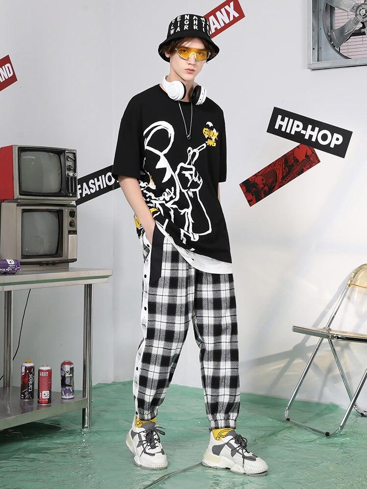 Lightning Fashion Brand Row Button Pants Men's Loose Side Button Elastic Waist Sweatpants Casual Pants Men mens clothing