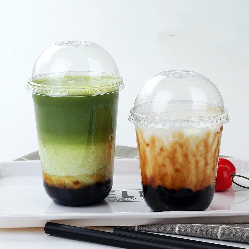 Taza de plástico transparente desechable con forma de cúpula para café, leche, fruta fresca, zumo, bebidas, botellas, cubiertas para tazas, accesorios para fiestas