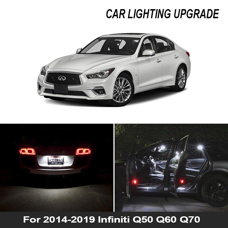 12x branco lâmpada led carro luz interior kit para 2014-2019 infiniti q50 q60 q70 mapa cúpula tronco caixa de luva lâmpada