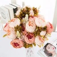 1 bouquet artificial flower peony bouquet silk tea rose flowers camellia silk fake flowers for wedding party home decor