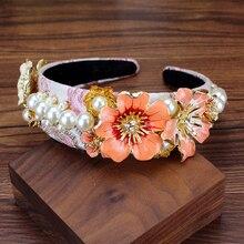 Boho Baroque Big Alloy Pink Flower Hairband Crystal And Pearl Crown Headband Rhinestone Headdress For Women Wedding Hair Jewelry