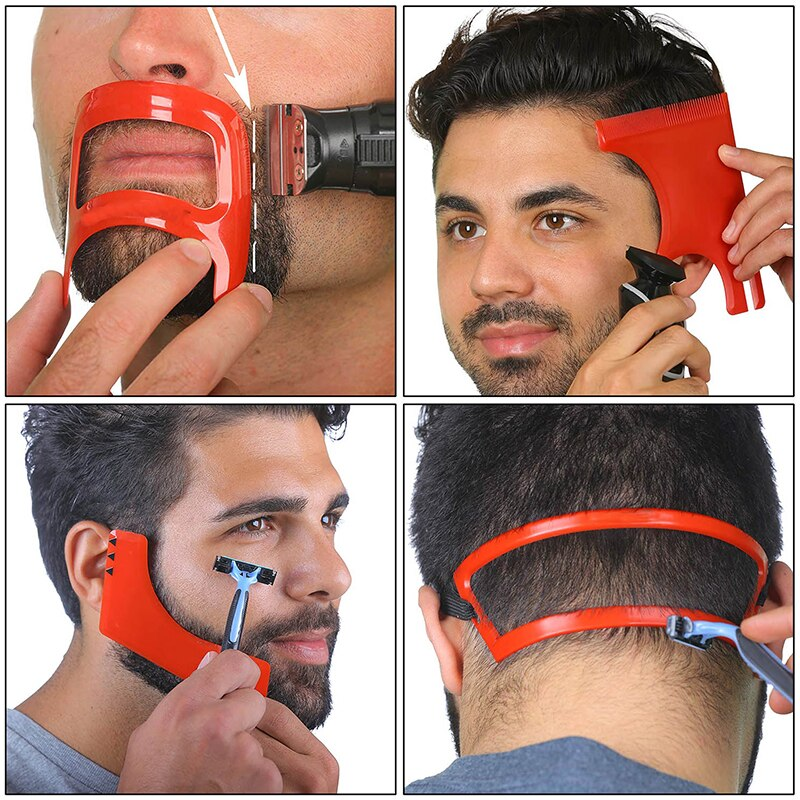 2/3/4Pcs Männer Bart Haar Ziegenbart Ausschnitt Rasieren Vorlage Guide Haarschnitt Kit Werkzeug