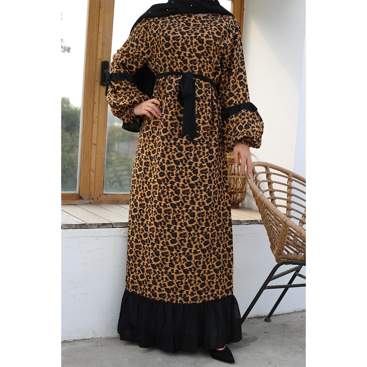 Moslemisches Abaya Kleid Frauen Leopard Rüschen Große Schaukel Arabische Kleider Abend Marokkanischen Kaftan Hijab Lange Robe Dubai Türkei Kleidung 3XL