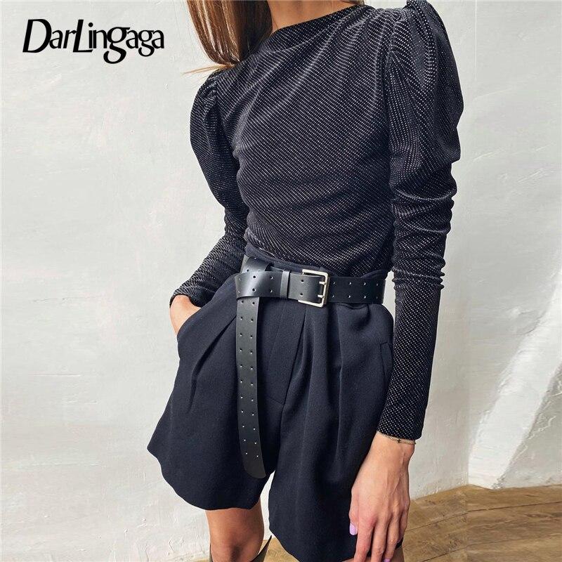 Darlingaga rhinestone panelled prata veludo bodysuit moda puff manga mulher corpo elegante outono inverno bodysuits bodycon novo