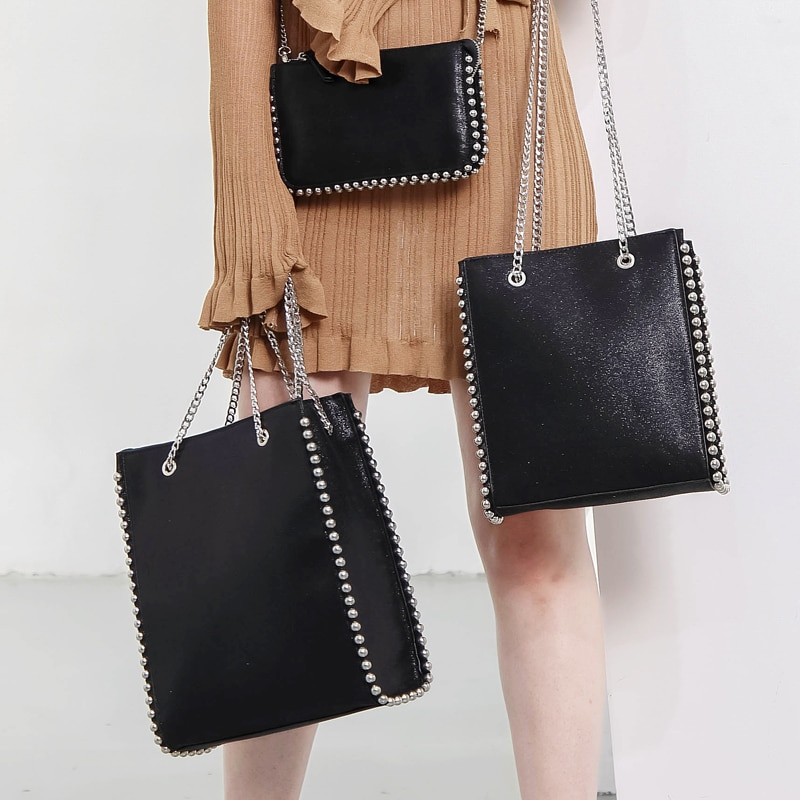 Retro Chains Rivet Large Capacity Tote Designer Bead Women Shoulder Bags Luxury PU Leather Messenger Bag Lady Big Bucket Purses