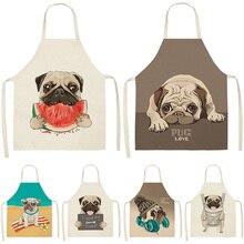 Simpatico cane Pug stampato 53*65cm cotone lino grembiuli senza maniche grembiuli da cucina donna cucina a casa cottura bavaglini vita grembiule
