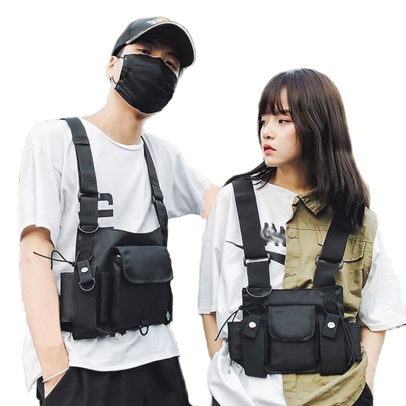 Functional Tactical Chest Bag Fashion Bullet Hip Hop Vest Streetwear Bag Waist Pack Women Black Ches