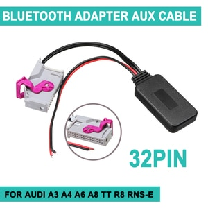32Pin For Audi A3 A4 A6 A8 TT R8 RNS-E Wireless bluetooth Adapter Aux Cable Auto bluetooth Car Kit Music Audio Receiver Adapter