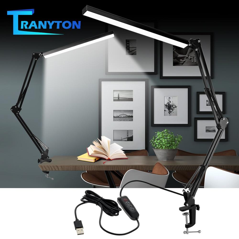 Desk Lamp Folding Eye Protection Light Usb Table Long Arm Aluminum with 3 Color Flexible LED Bulbs Modern DC