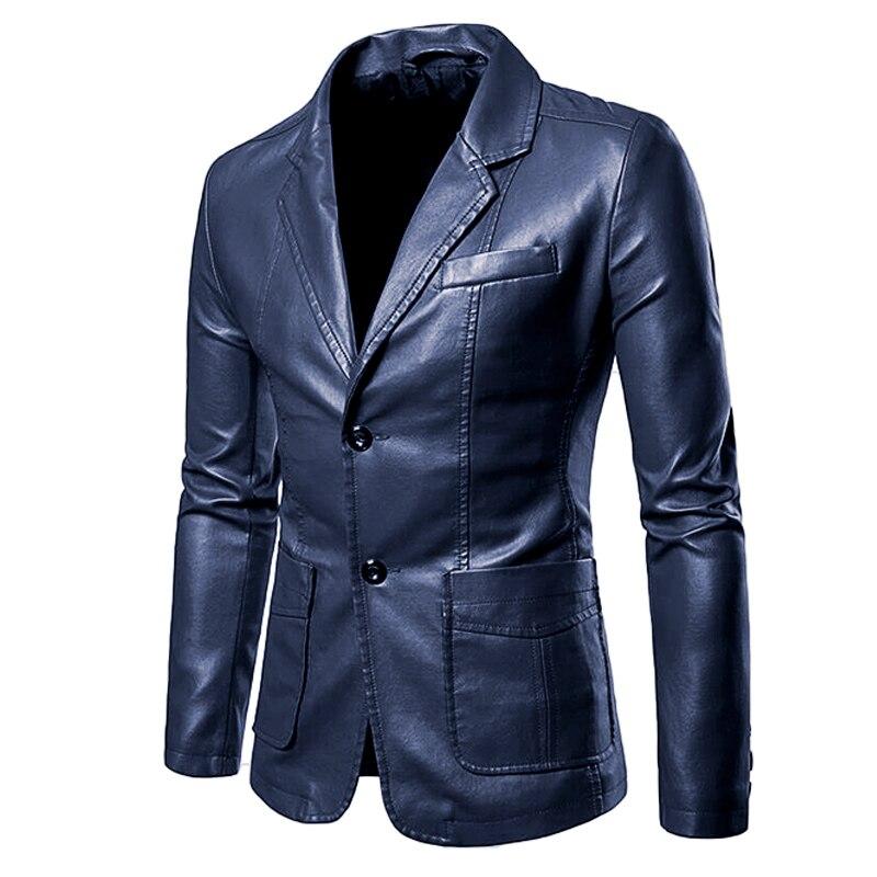 Куртка мужская демисезонная однобортная из ПУ кожи, с длинным рукавом