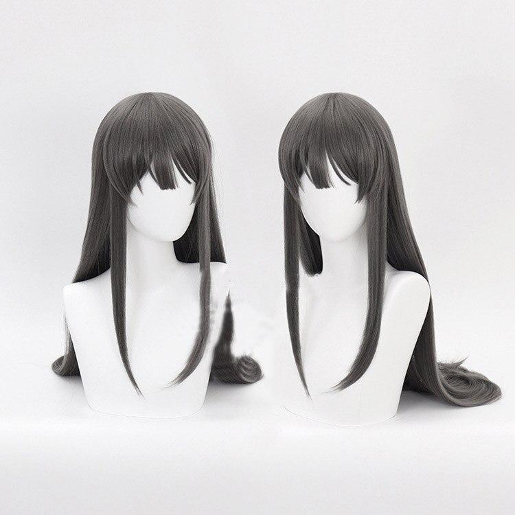 Bribón no sueño de chica conejito Senpai Sakurajima Mai Cosplay pelucas sintéticas Pelo Largo recto gris pelo + de red para el cabello