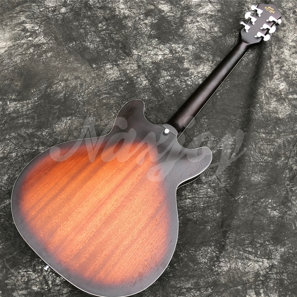 GROTE Electric Guitar Semi-Hollow Body Sunbrust Matte Finished Jazz Guitarra Double F Holes,Real Photos enlarge