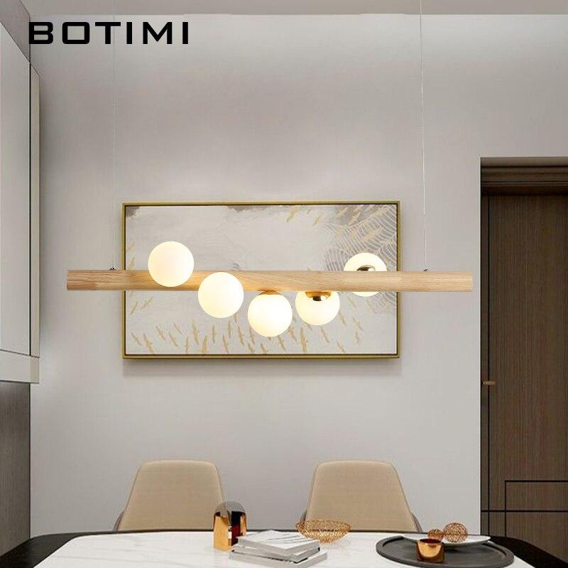 BOTIMI, luz colgante LED de comedor para sala de estar, bolas de cristal, lámpara colgante de madera, Bar, lámpara colgante de mesa larga, accesorios de iluminación para Loft