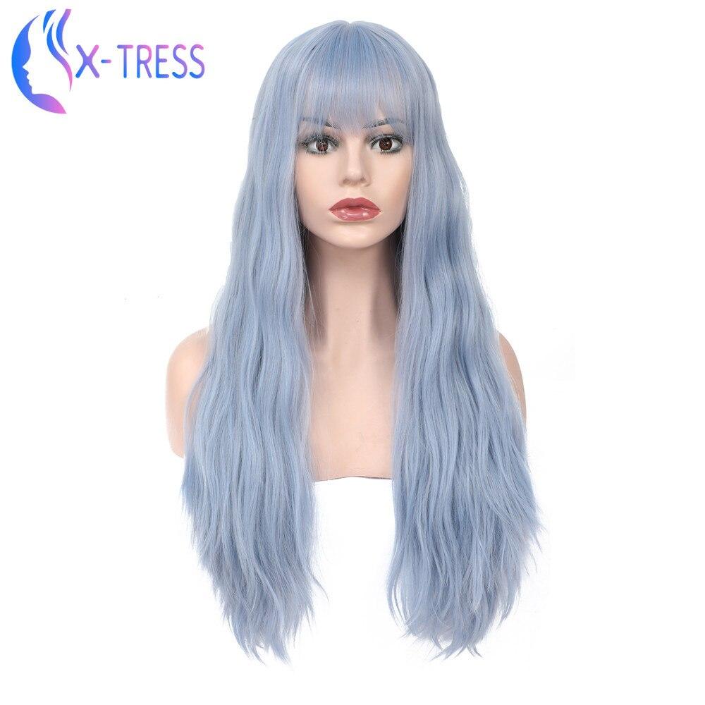 Peluca sintética a la moda de X-TRESS, peluca larga de color azul y gris con flequillo, pelucas de alta temperatura con 130% de densidad